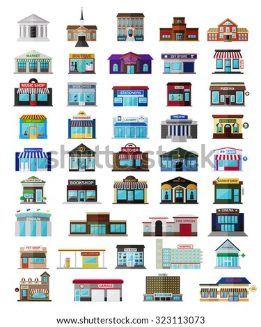 Set of the flat city buildingss and shops. Vector EPS10 illustration.  - stock vector