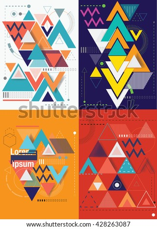 Set of the geometry abstract vector background. Vector illustration. - stock vector
