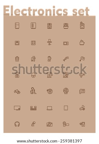 Set of the home electronics and appliances related icons - stock vector