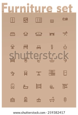 Set of the home furniture and decoration related icons - stock vector
