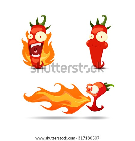 Set of the hot chili peppers in cartoon style - vector illustration - stock vector