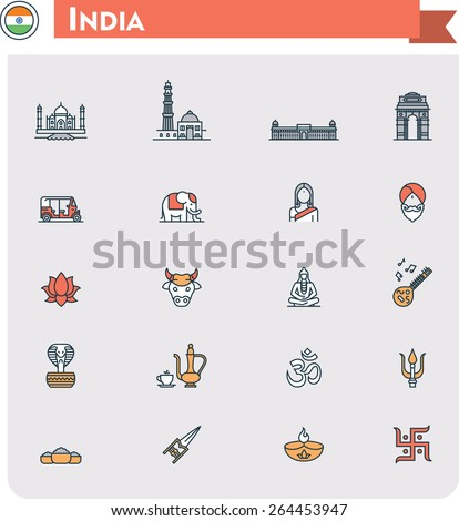 Set of the India traveling related icons - stock vector