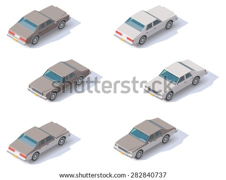 Set of the isometric cars with front and rear views - stock vector