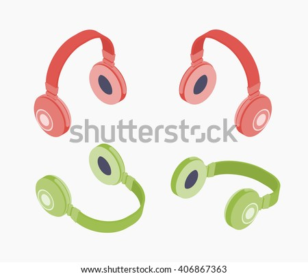 Set of the isometric colored headphones. The objects are isolated against the white background and shown from different sides - stock vector