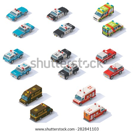 Set of the isometric emergency services cars with front and rear views - stock vector