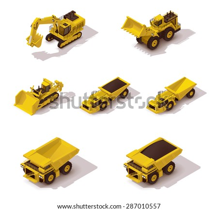 Set of the isometric icons representing mining machinery - stock vector