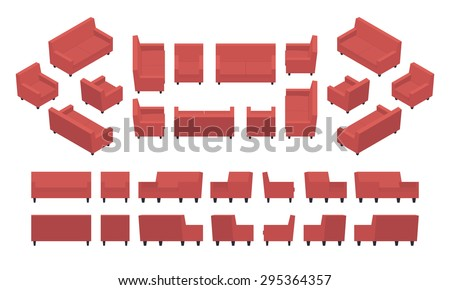Set of the isometric red modern armchairs and sofas. The objects are isolated against the white background and shown from different sides - stock vector