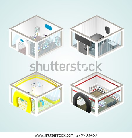 Set of the isometric shops and other elements (Clothing, Auto products, Auto shop). Vector illustration. - stock vector