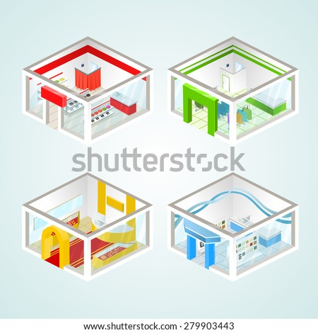 Set of the isometric shops and other elements (Clothing, Jewelry.  Vector illustration. - stock vector