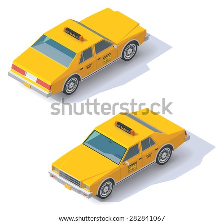 Set of the isometric taxi cab with front and rear views - stock vector