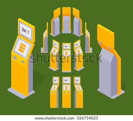 Set of the isometric yellow payment terminals. The objects are isolated against the green background and shown from different sides - stock vector