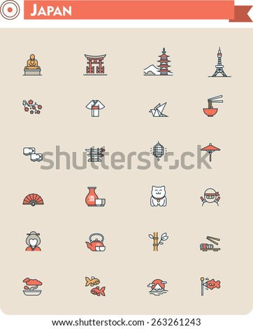 Set of the Japan traveling related icons - stock vector