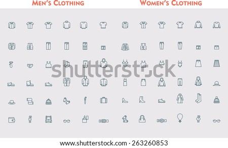 Set of the men and women clothing - stock vector