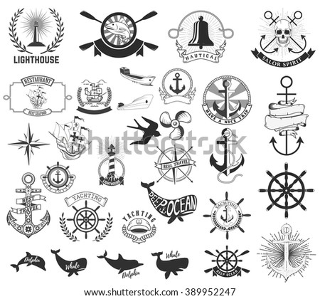 Set of the nautical labels, emblems and design elements. Lighthouse, yachting, deep ocean, anchors, whales, dolphins. Nautical animals icons.Vector  elements for nautical emblems and signs. - stock vector