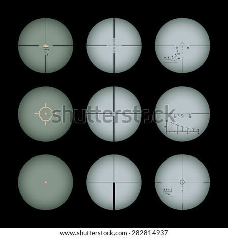 Set of the real gun sights. The objects are isolated against the black background - stock vector