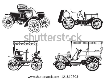 set of the retro automobiles - eps - stock vector