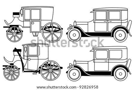 set of the retro cars - vector - stock vector