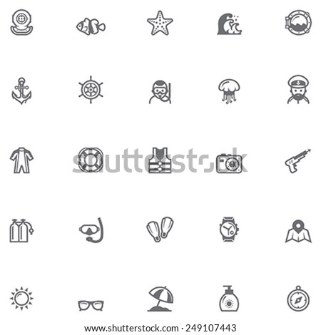 Set of the sea vacations related icons - stock vector