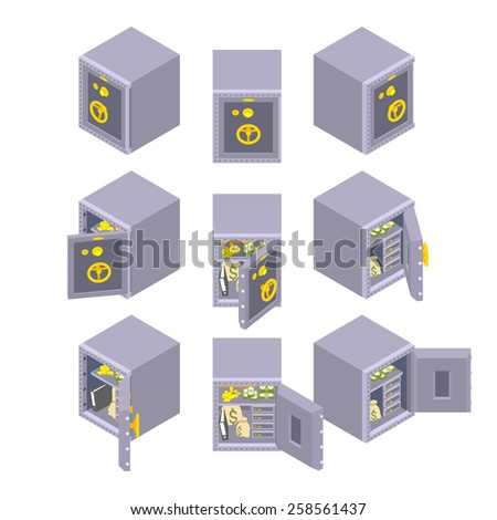 Set of the sometric metal safe storages. The objects are isolated against the white background and shown from different sides - stock vector