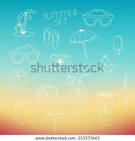 Set of the summer elements drawn with a hand. Hand drawn sea symbols set. - stock vector