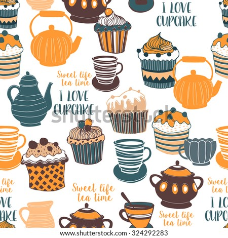 Set of the tea time elements.Tea and Cake background.  I love Tea. Seamless pattern. - stock vector
