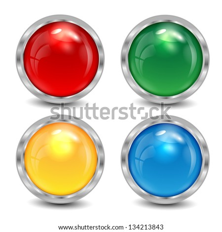 set of the varicoloured buttons is in a silvery frame - stock vector