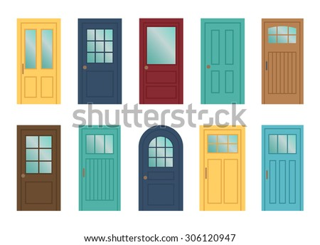 Set of the various doors on the white background - stock vector