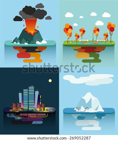 Set of the vector islands Nature Volcano City Park - stock vector