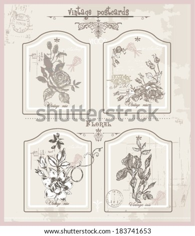 set of the vintage lables - stock vector