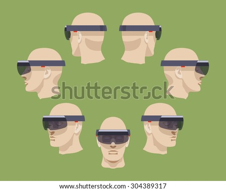 Set of the virtual reality headsets. The objects are isolated against the green background and shown from different sides - stock vector