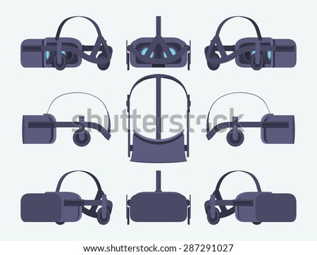 Set of the virtual reality headsets. The objects are isolated against the white background and shown from different sides - stock vector