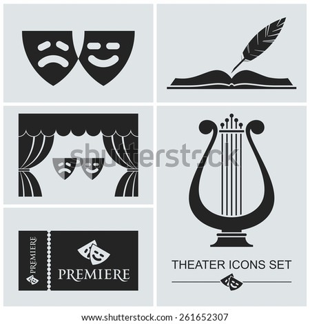 Set of theater icons in stencil style - stock vector