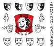 set of theatrical masks - stock vector