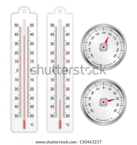 Set of thermometers and barometer in vector, isolated over white - stock vector