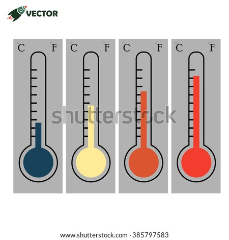 Set of  thermometers isolated in different color  - stock vector