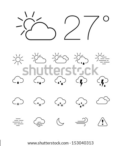 Set of 20 thin and clean outline weather icons for web or mobile use on white background - stock vector