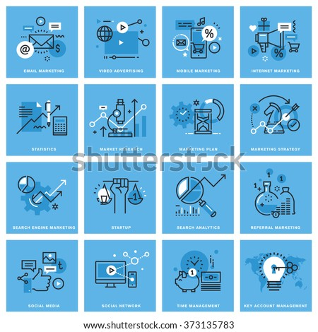 Set of thin line concept icons of marketing plan and strategy, digital marketing, social media and networking, mobile marketing, key account management. Icons for website, mobile website and app. - stock vector