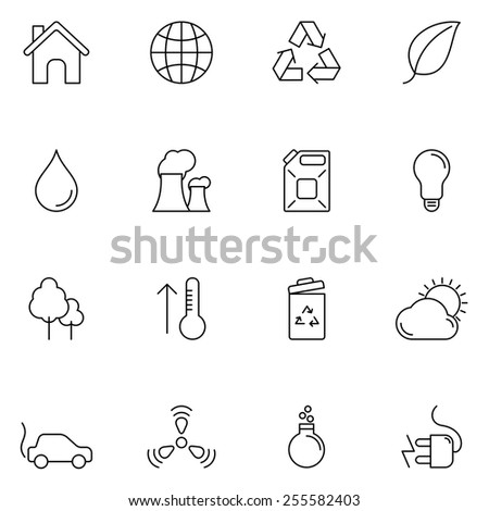 Set of 16 thin line ecology and environment icons - stock vector