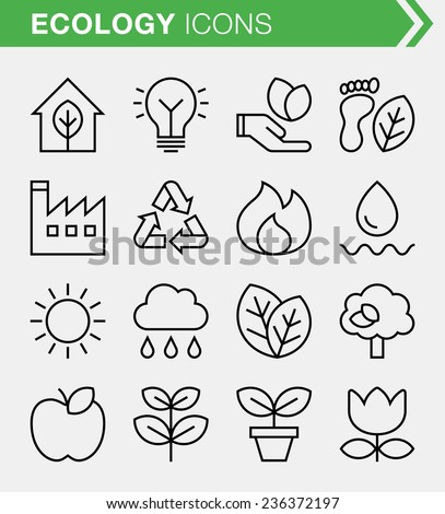 Set of thin line ecology icons. - stock vector
