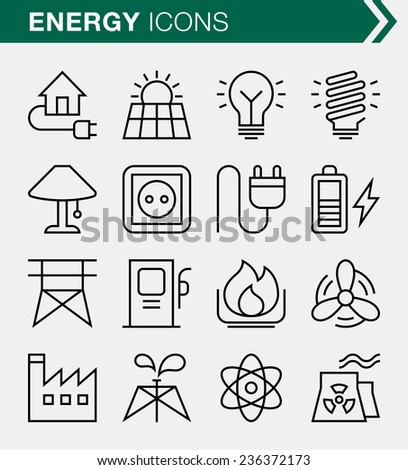 Set of thin line energy icons. - stock vector
