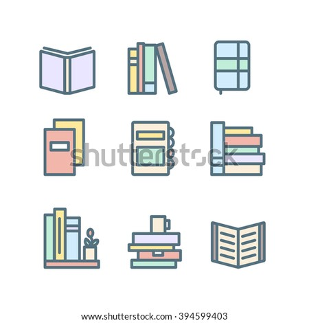 Set of thin line flat books. Book icons for your design.  - stock vector