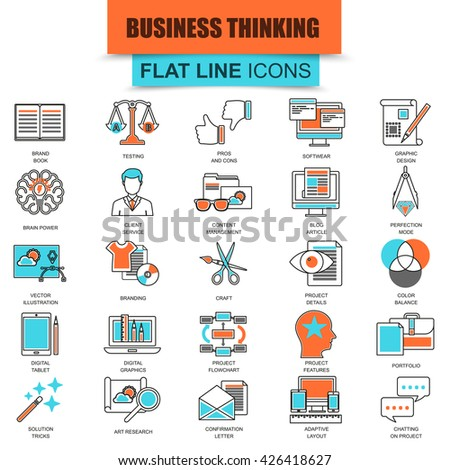 Set of thin line icons business content management, usability thinking. Modern mono flat linear concept pictogram, set simple outline icon, symbol for web designers. Collection flat line icon. - stock vector
