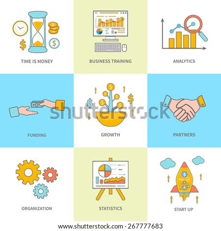 Set of thin line icons of growth, time is money, business training, analytics, funding, partners, organization, statistics and start up concepts in flat style. Banners concept - stock vector