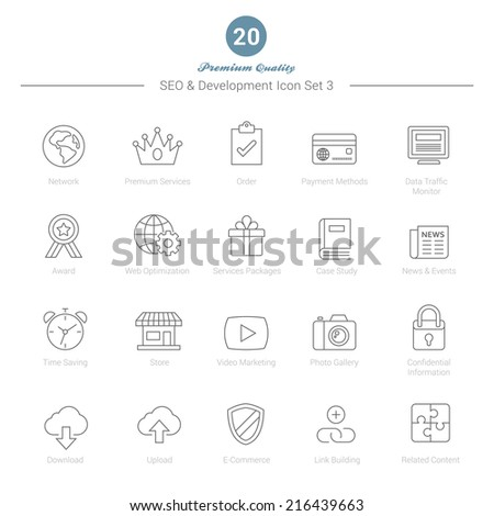 Set of Thin Line SEO and Development icons Set 3 Vector Illustration - stock vector