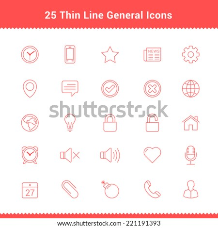 Set of Thin Line Stroke General Icons Vector Illustration - stock vector