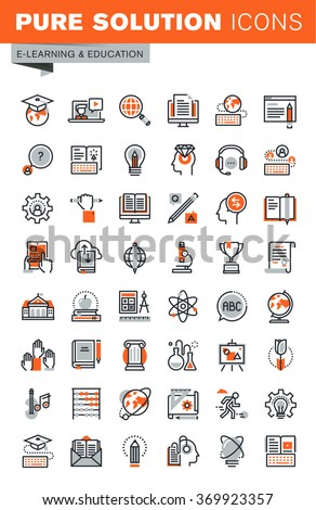 Set of thin line web icons for graphic and web design and development. Icons of e-learning, education, online training and courses, video tutorials, e-book, webinar audio course. - stock vector
