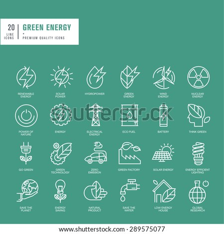 Set of thin line web icons for green energy - stock vector