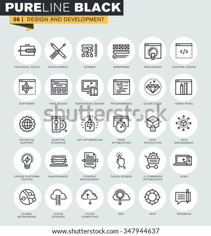 Set of thin line web icons of web design and development. Premium quality icons for website, mobile website and app design.  - stock vector