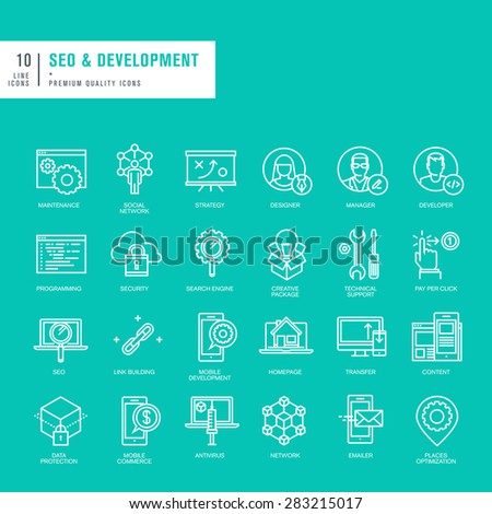Set of thin lines web icons for SEO and website development - stock vector