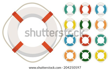 Set of thirteen different lifesavers - stock vector